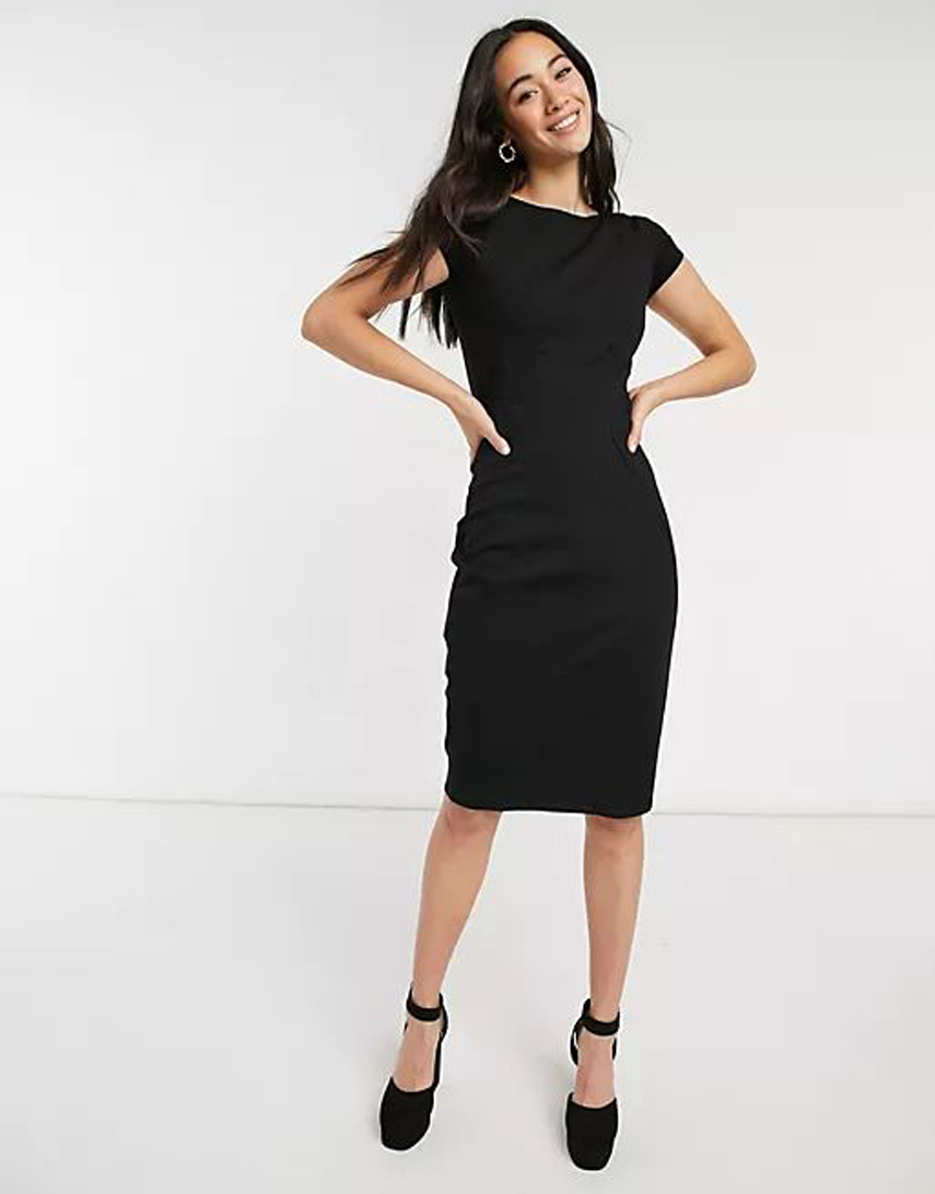 Closet London pencil dress with ruched cap sleeve in black