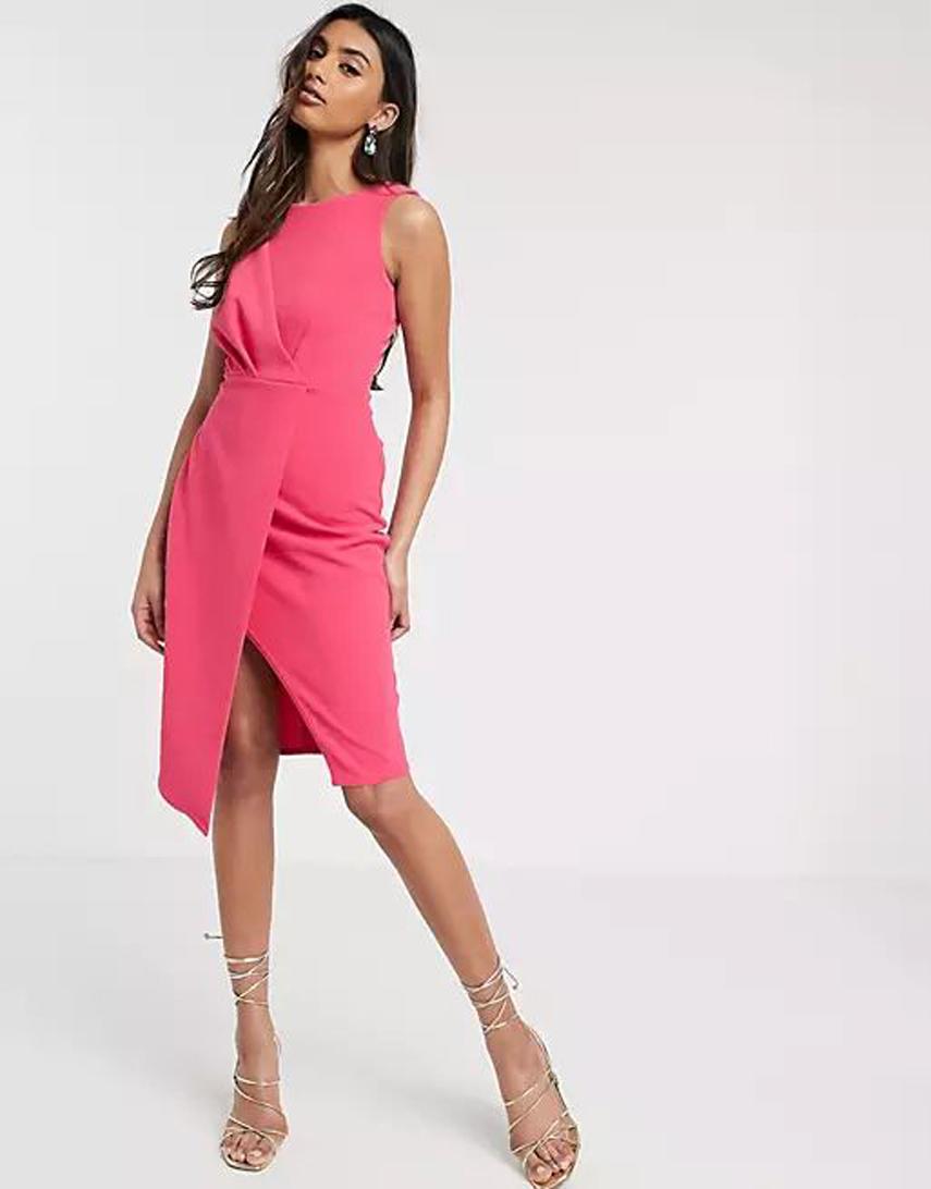 Closet London pleated front pencil dress in fuchsia