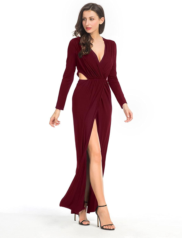 Clothink Women White/Black Wrap Front V Neck Cut Out Split Plain Maxi Dress