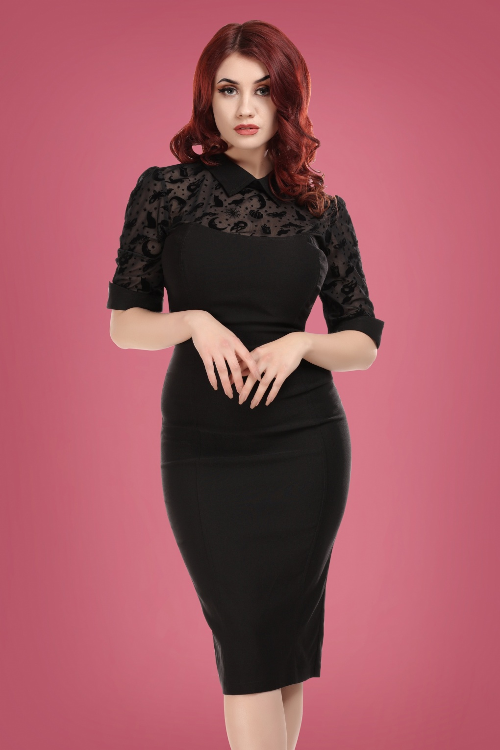 Collectif Clothing 50s Wednesday Magic Mesh Pencil Dress in Black