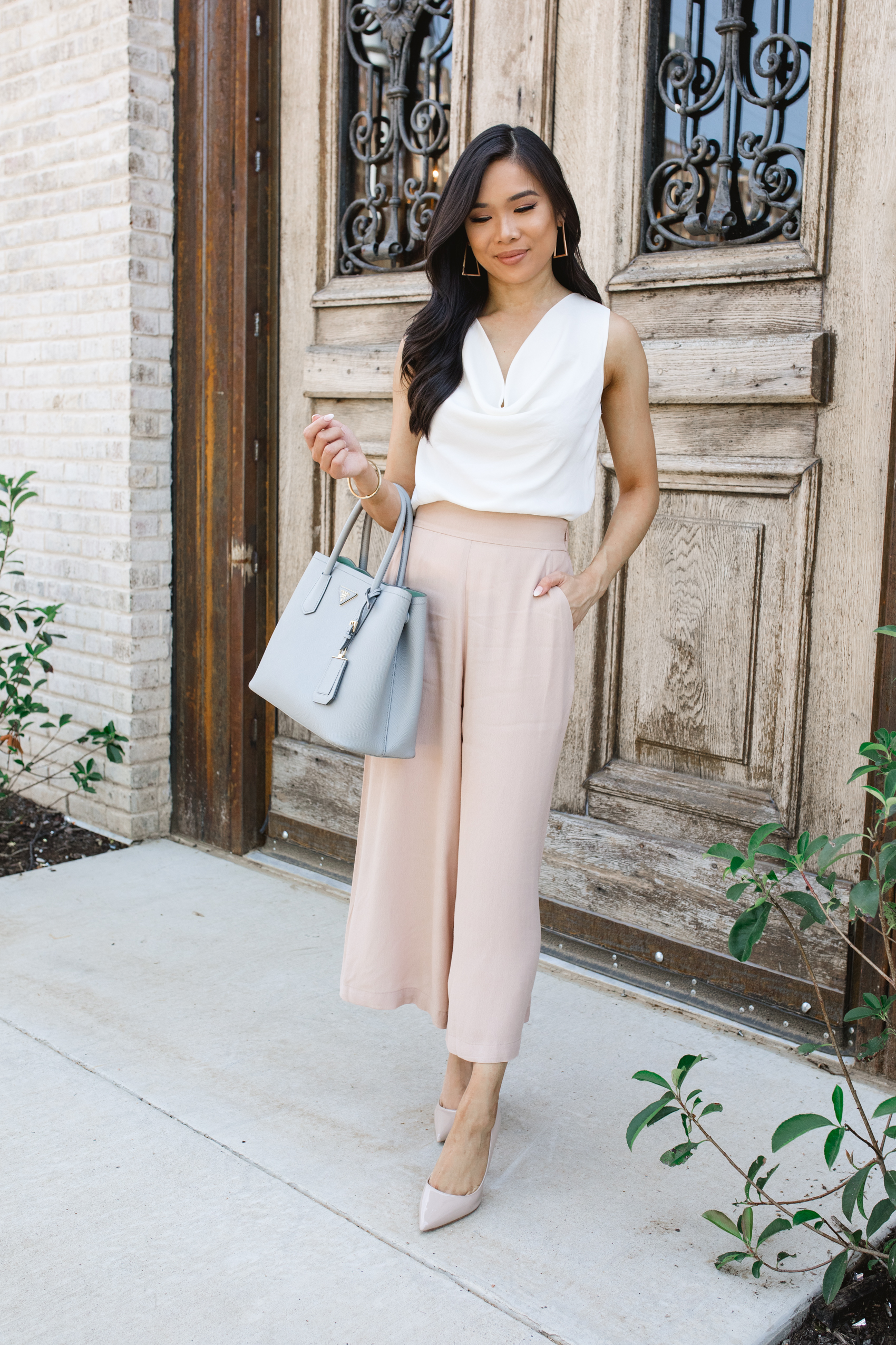 Cowl Neck Top with Cropped Trousers