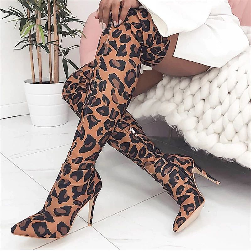 Coturno Feminino Fashion Over The Knee Woman Boots Leopard Print Pointed Toe Shoes High Heels Hot Sale Winter Dress Zipper Boots