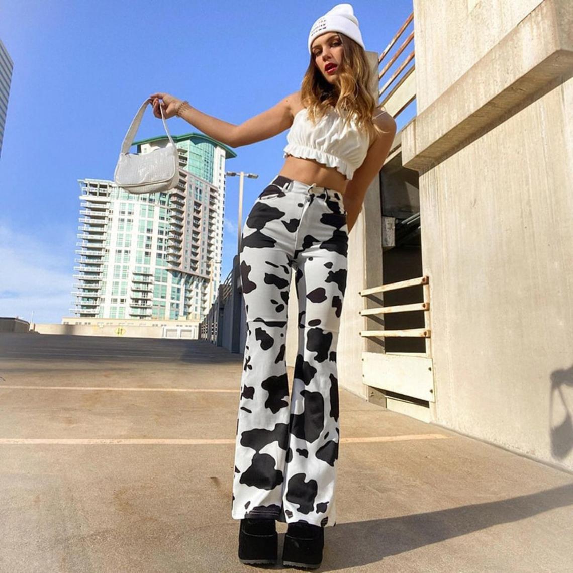 Y2K Cow Print Baggy Jeans Woman High Waist Streetwear Cargo Pants Streetwear / Korean Fashion / Elastic Waist Pants / Denim Jeans