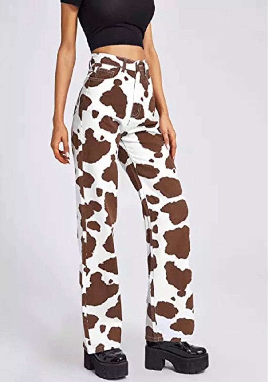 Cow print mom jeans