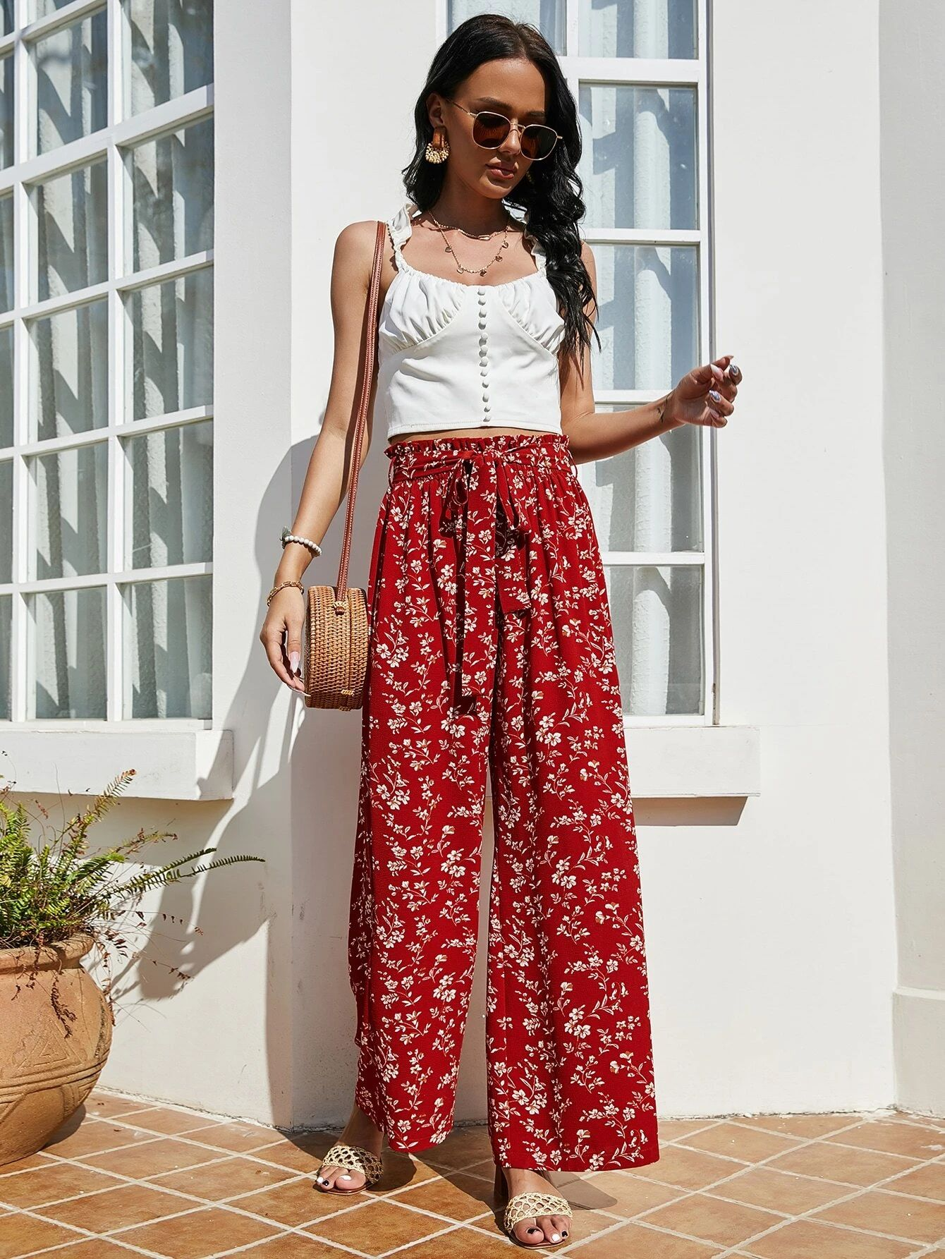 Ditsy Floral Wide Leg Belted Trousers