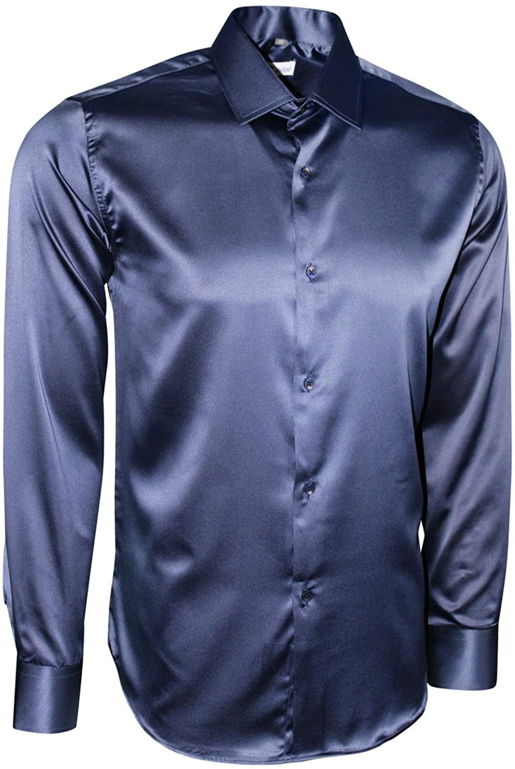 Dominic Stefano Mens Satin Shiny Silk - Feel Smart Casual Dress - Affordable & Comfortable - Easy to Iron Best for Wedding Business & Evening Party Shirts