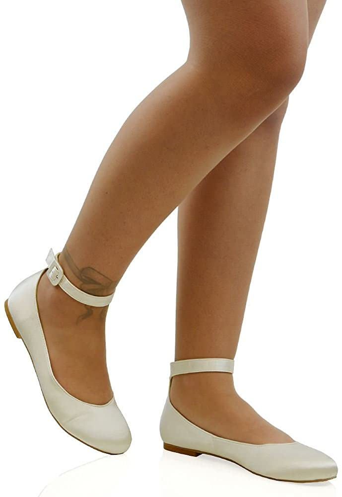ESSEX GLAM Womens Flat Ankle Strap Ballet Pumps Ladies Ballerina Party Bridal Smart Shoes