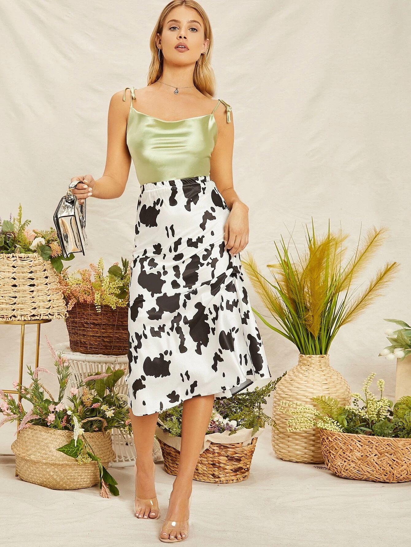 Elastic Waist Cow Print Satin Midi Slip Skirt