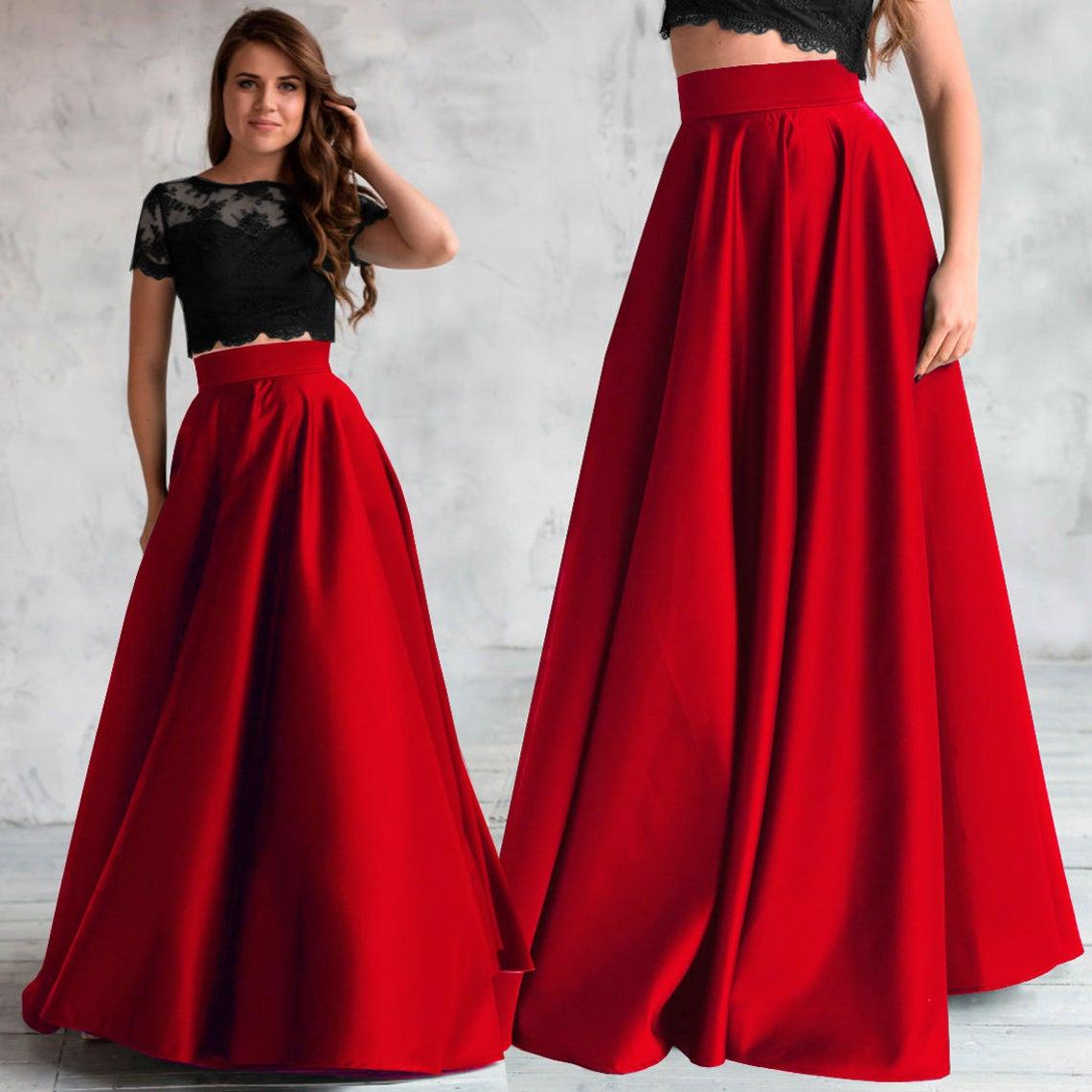 Elegant red satin skirt, maxi high waist satin skirt, red skirt with pockets, long satin skirt