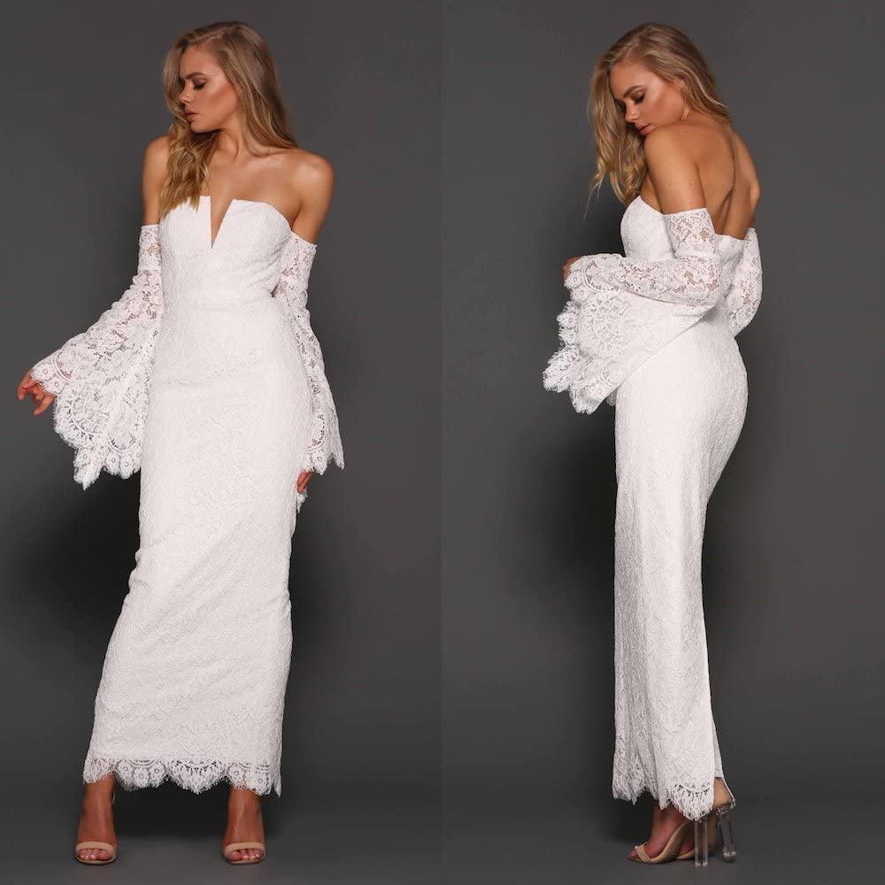 Lace Off The Shoulder White Maxi Dress