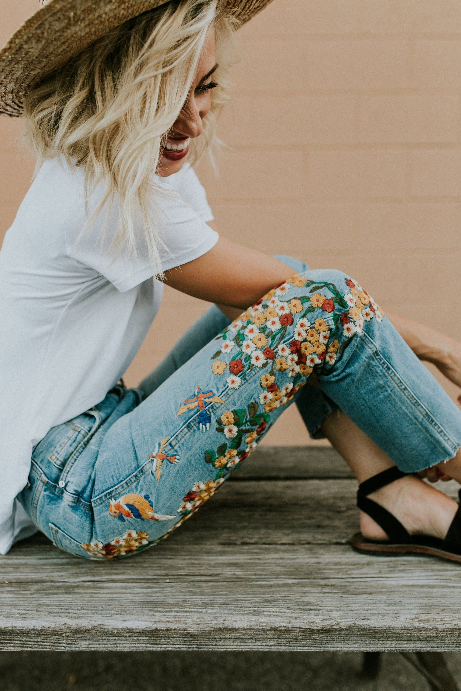 Embroidered Girlfriend Jeans