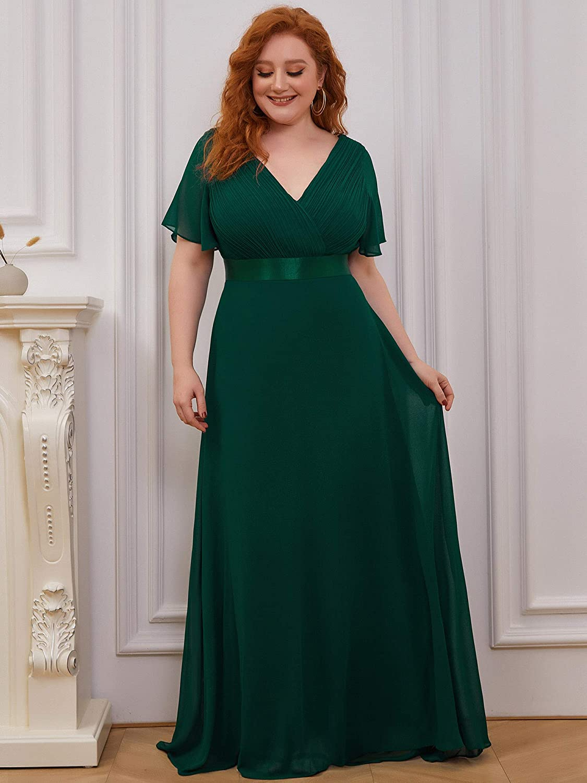 Ever-Pretty Women's Elegant Double V Neck A Line Empire Waist with Short Sleeve Long Chiffon Plus Size Bridesmaid Dresses 09890PL