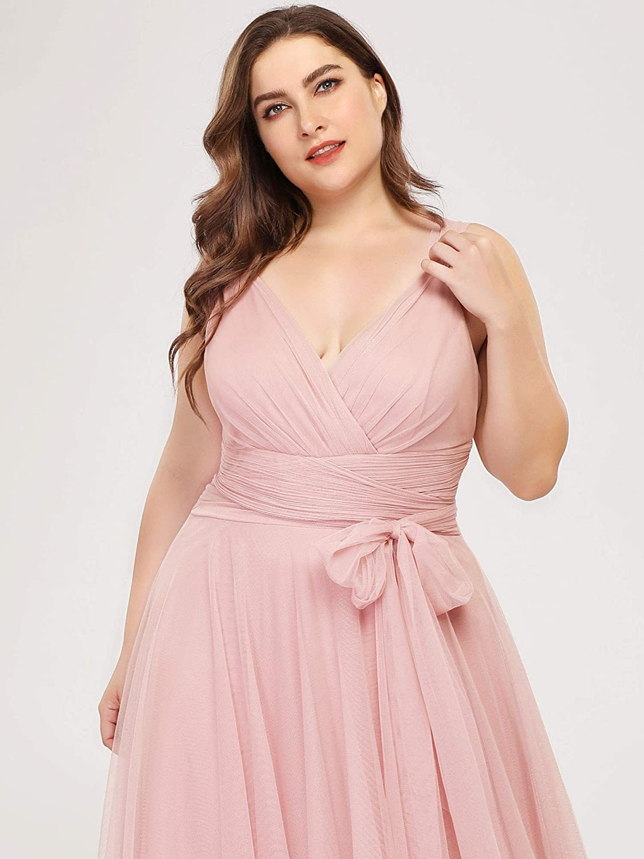 Ever-Pretty Women's Floor Length Elegant V Neck Empire Waist A Line Tulle Plus Size Bridesmaid Dresses 07303PL