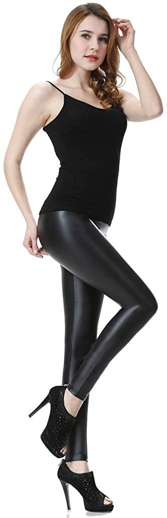 Everbellus Womens High Waisted Black Faux Leather Leggings