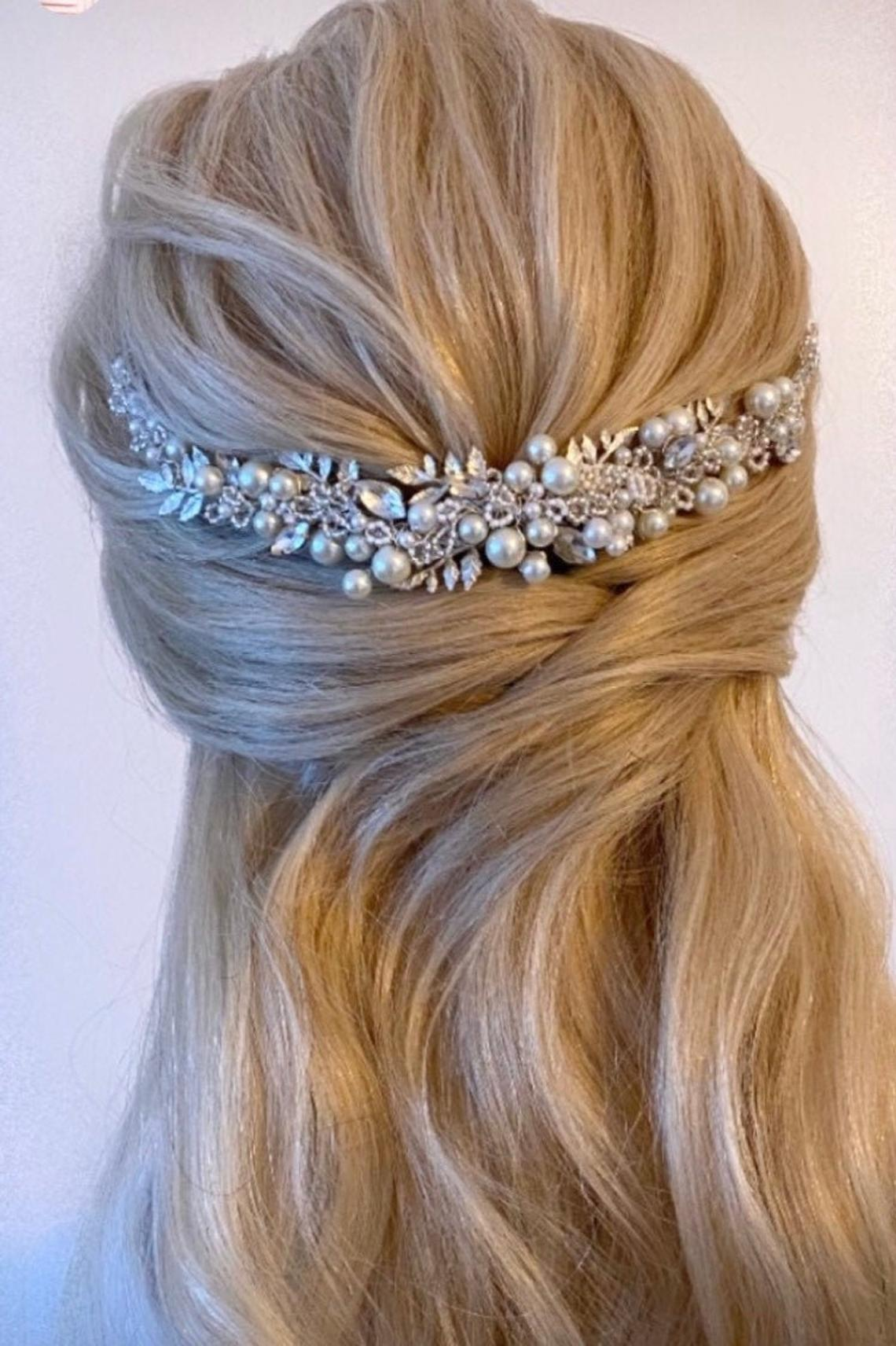 Evie Bridal Hairpiece, Wedding Hair Accessories, Bridal Hairvine, Bride's Comb, Hair Adornment, Pearl, Crystal, Handmade