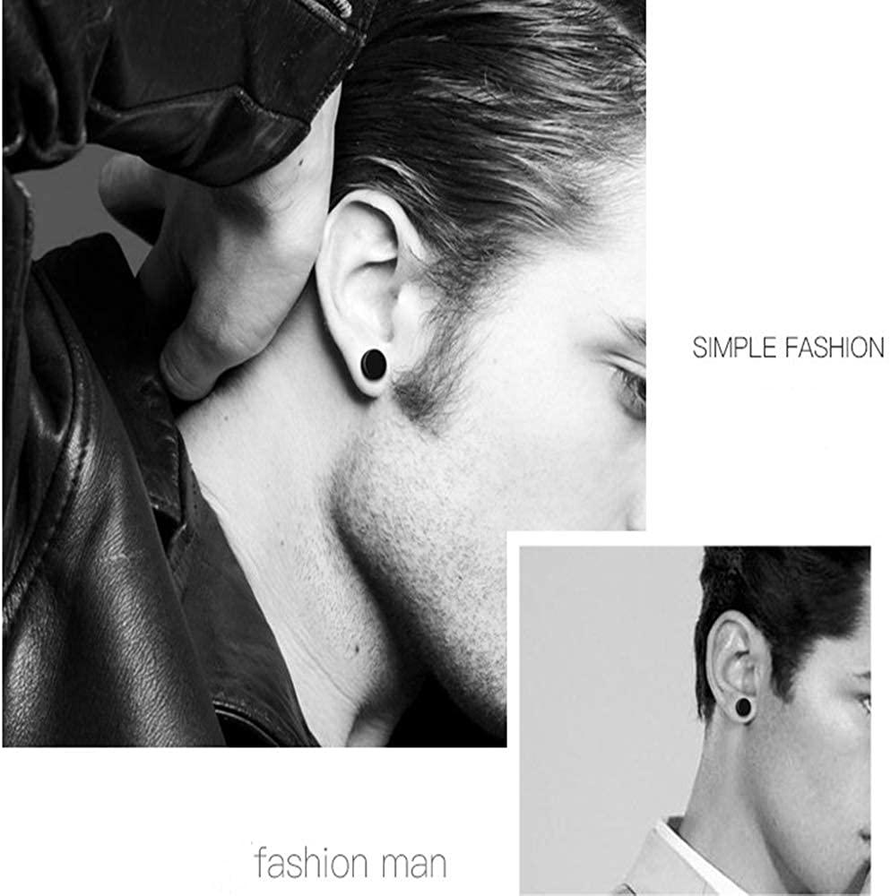 Flongo Men's Women Punk 6-12mm Stainless Steel Black Magnetic Non-piercing Clip Fake Cheater Stud Earrings