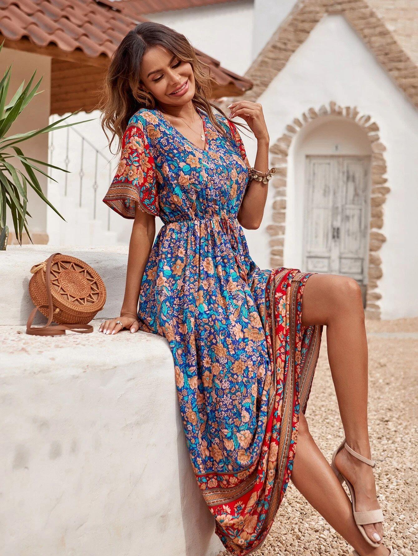 Floral Print Knot Front Maxi Dress