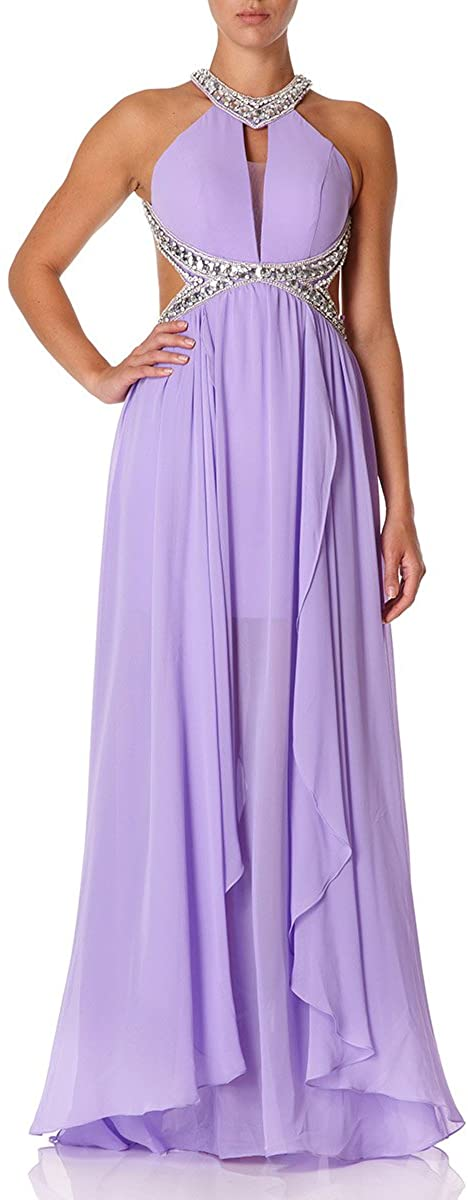 Forever Unique - SHAYLA - Lilac Maxi Dress with Cut-out Side and Beading Detail