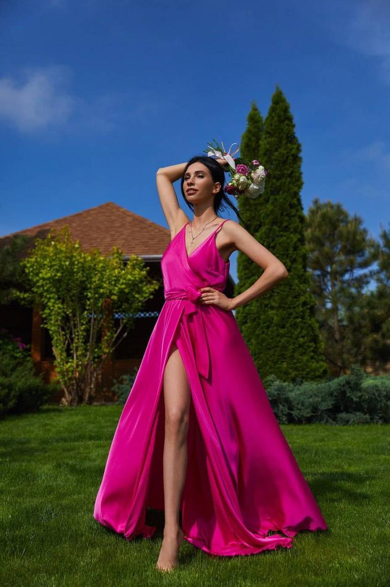 Fuchsia silk maxi wrap dress/bridesmaid dress/wedding guest dress/bridesmaid gown/evening dress/formal dress/beach dress/summer dress