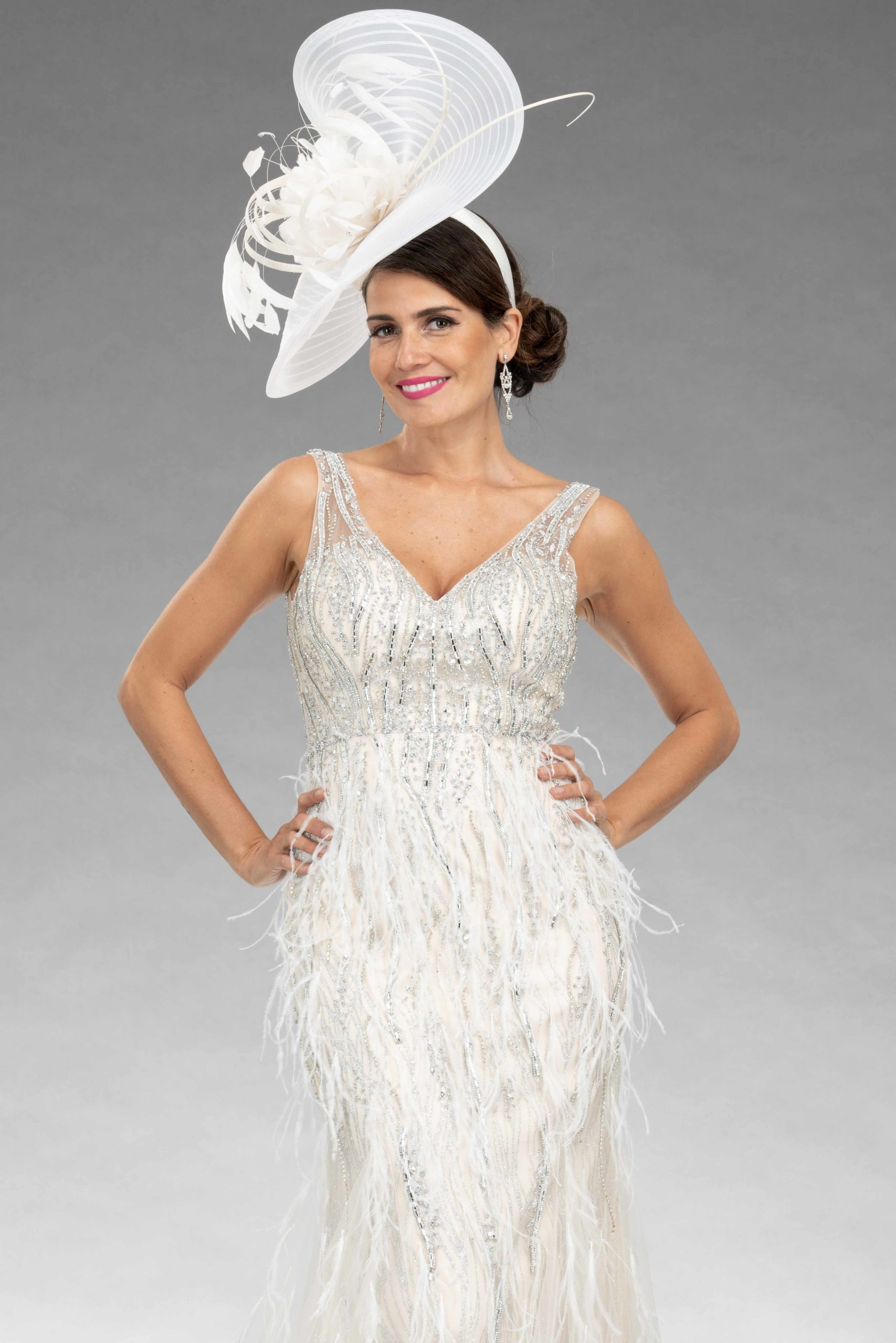 Full Length Beaded Dress With Feather Trim. AF79767