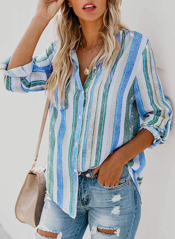 GOSOPIN Casual Stripe V Neck Blouse Womens Button Down Shirt Long Sleeve Tops Tunics
