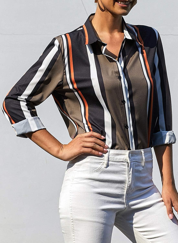 GOSOPIN Womens Striped Tops Long Roll Sleeve Button Down Blouses V Neck Casual Chiffon Shirt