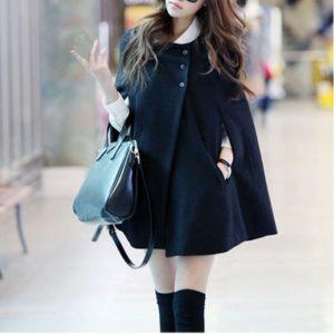 Gaorui Women Fashion Cape Bat Wing Poncho Cloak Woolen Coat Top Black Cappa Jacket