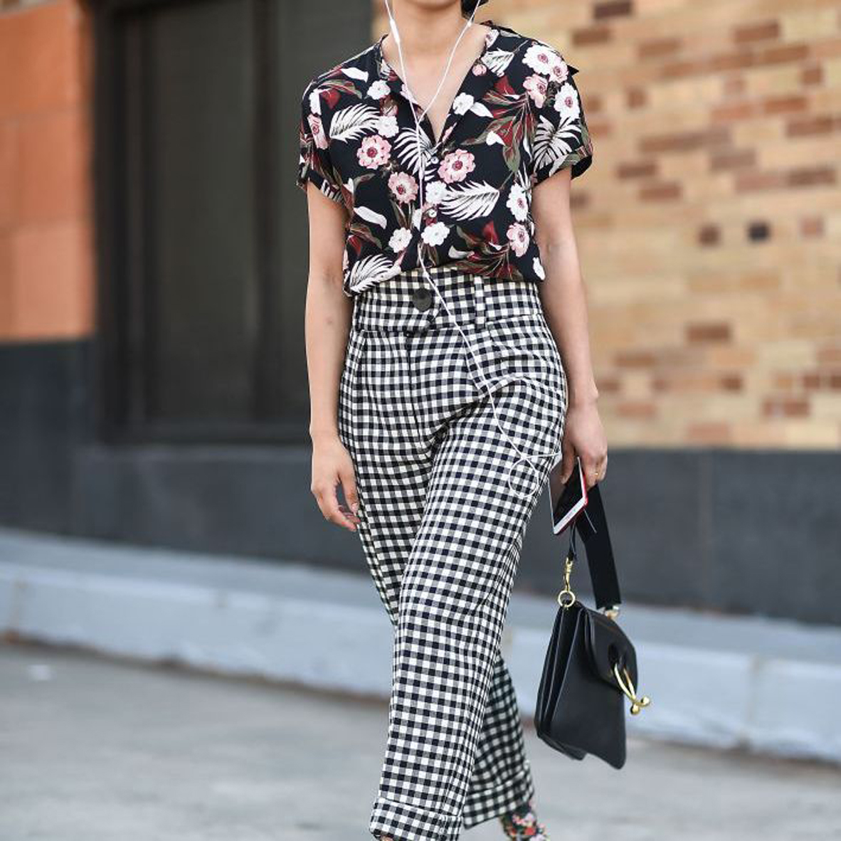 Gingham Pants with Floral printed top
