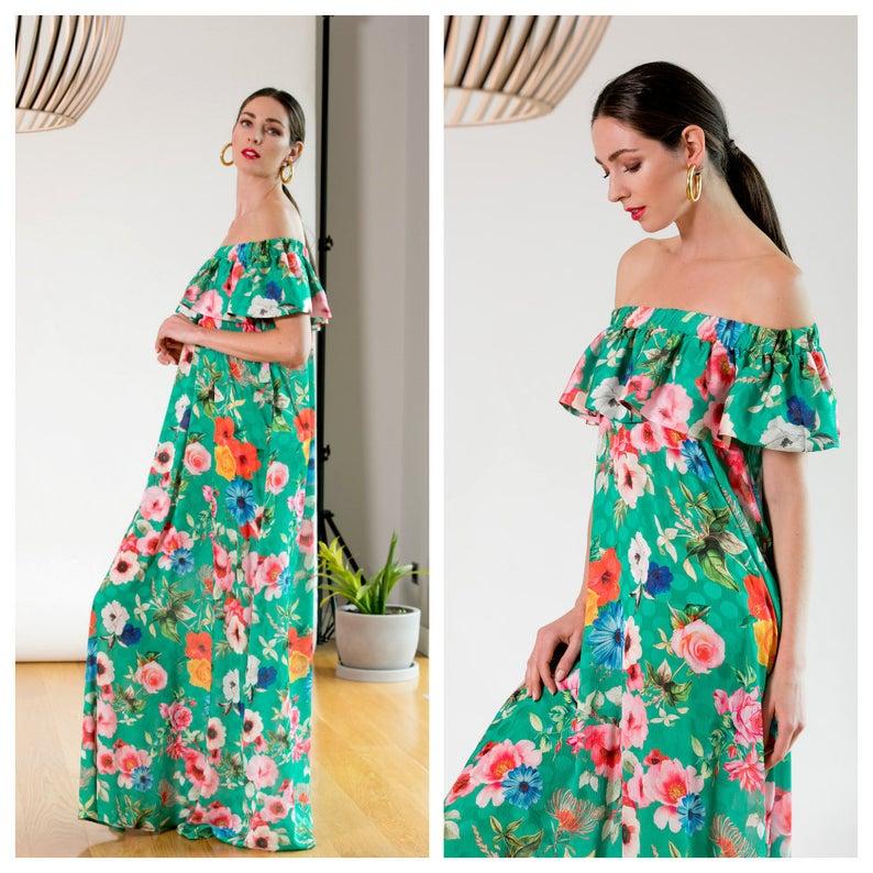 Green Floral Summer Dress by CherryBlossomsDress, Bardot Off Shoulders Boho Dress, Long Maxi Dress