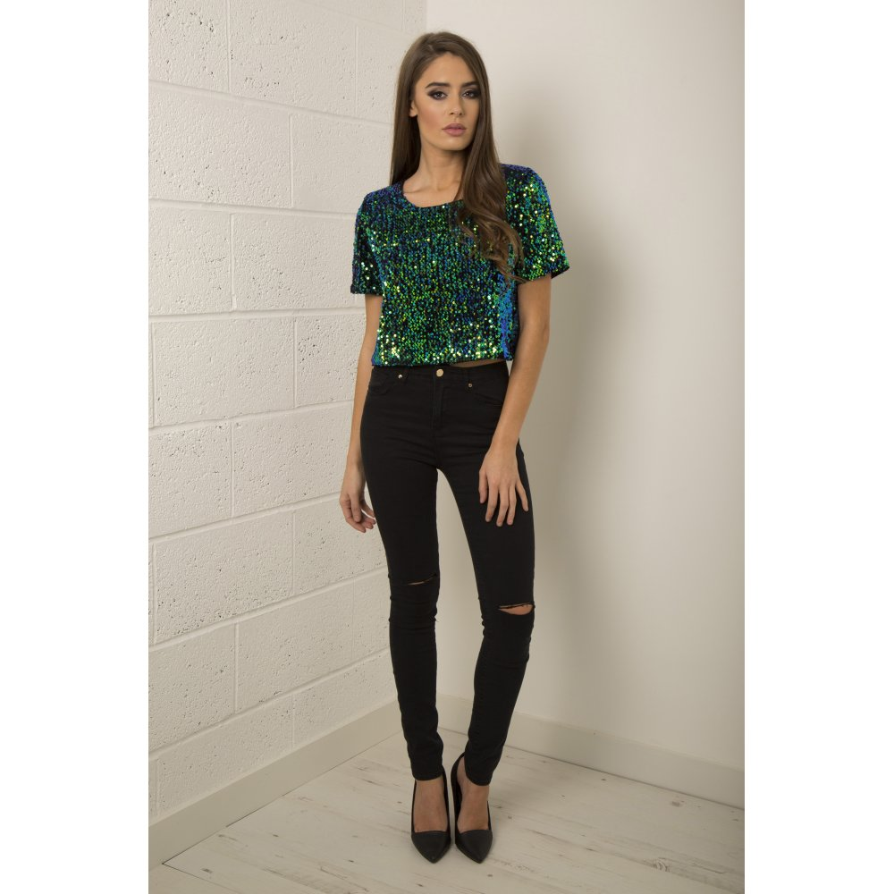 Green Sequin Sheer Back Cropped Top