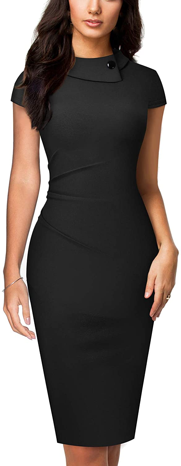 HOMEYEE Women's Vintage Lapel Ruched Bodycon Business Pencil Dress B574