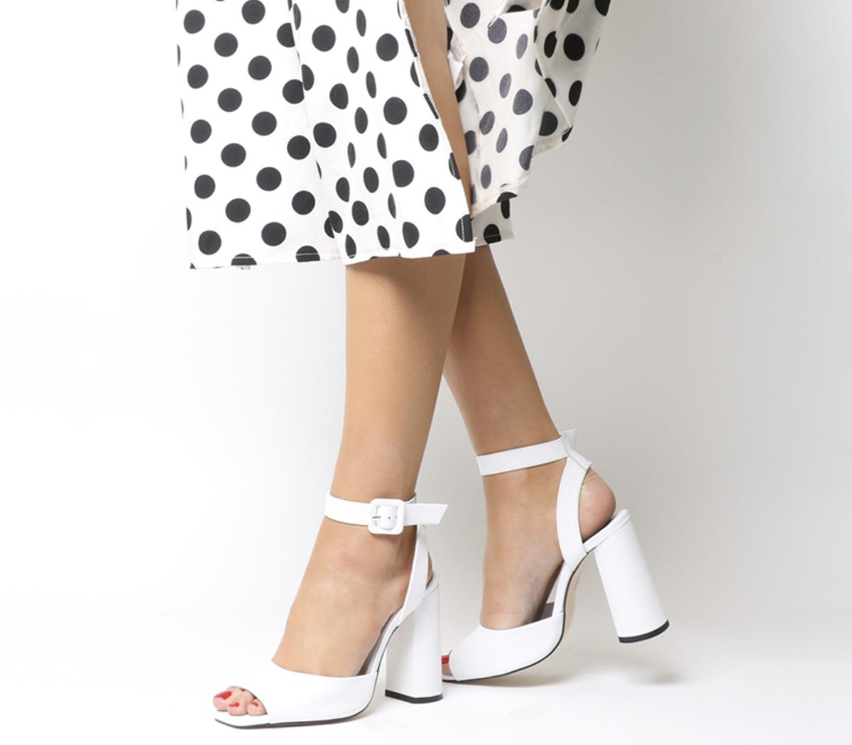 Heartly Ankle Strap Heels White Leather
