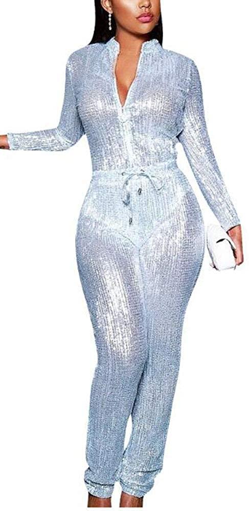 Hellomiko Women's Sequin Jumpsuit - Ladies Loose Lapel V-Neck Button/Zipper Romper Playsuit with Belt
