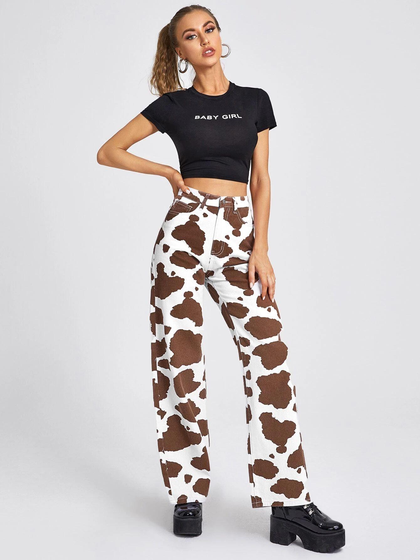 High Waist Cow Print Straight Leg Jeans