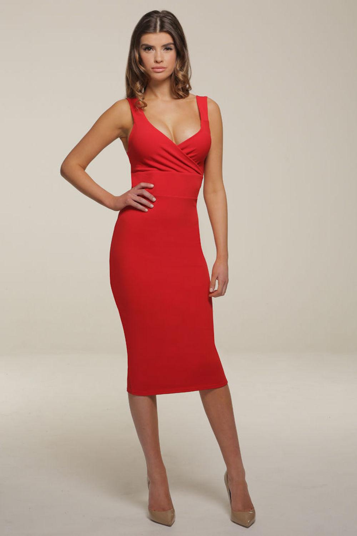 Honor Gold Red Darcey Midi Pencil Dress