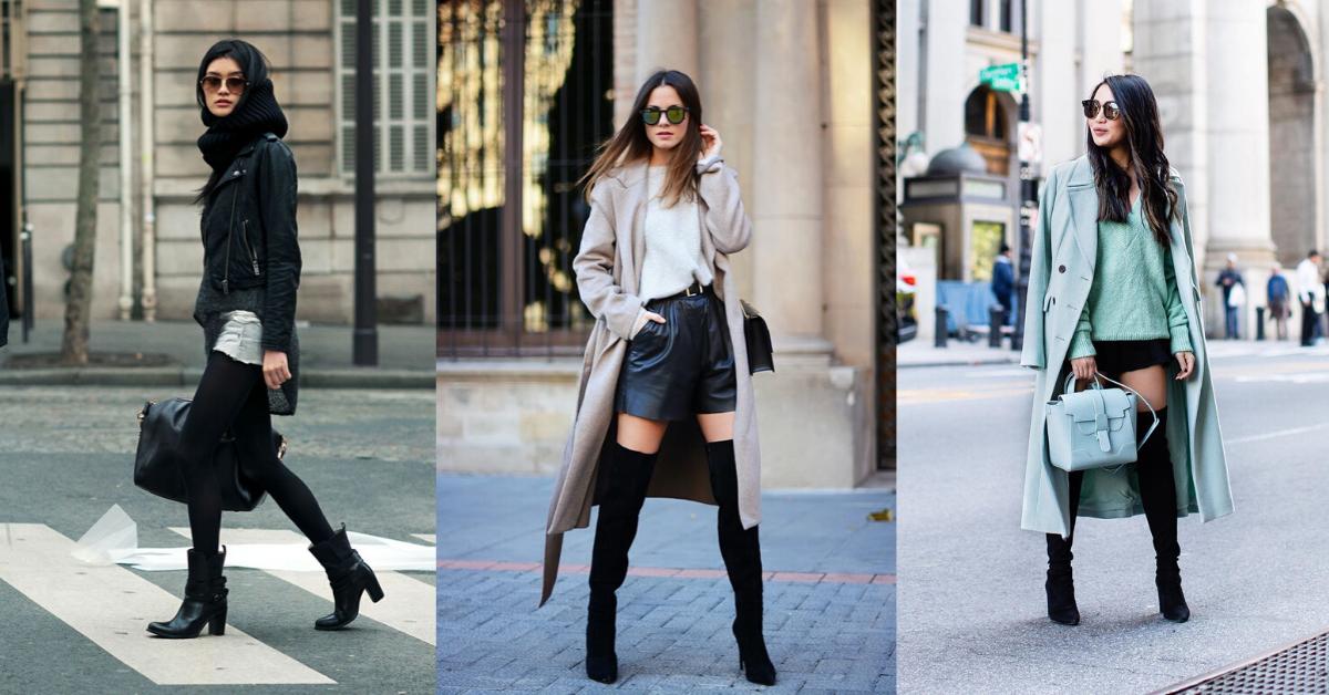 Black Leather Shorts with coat