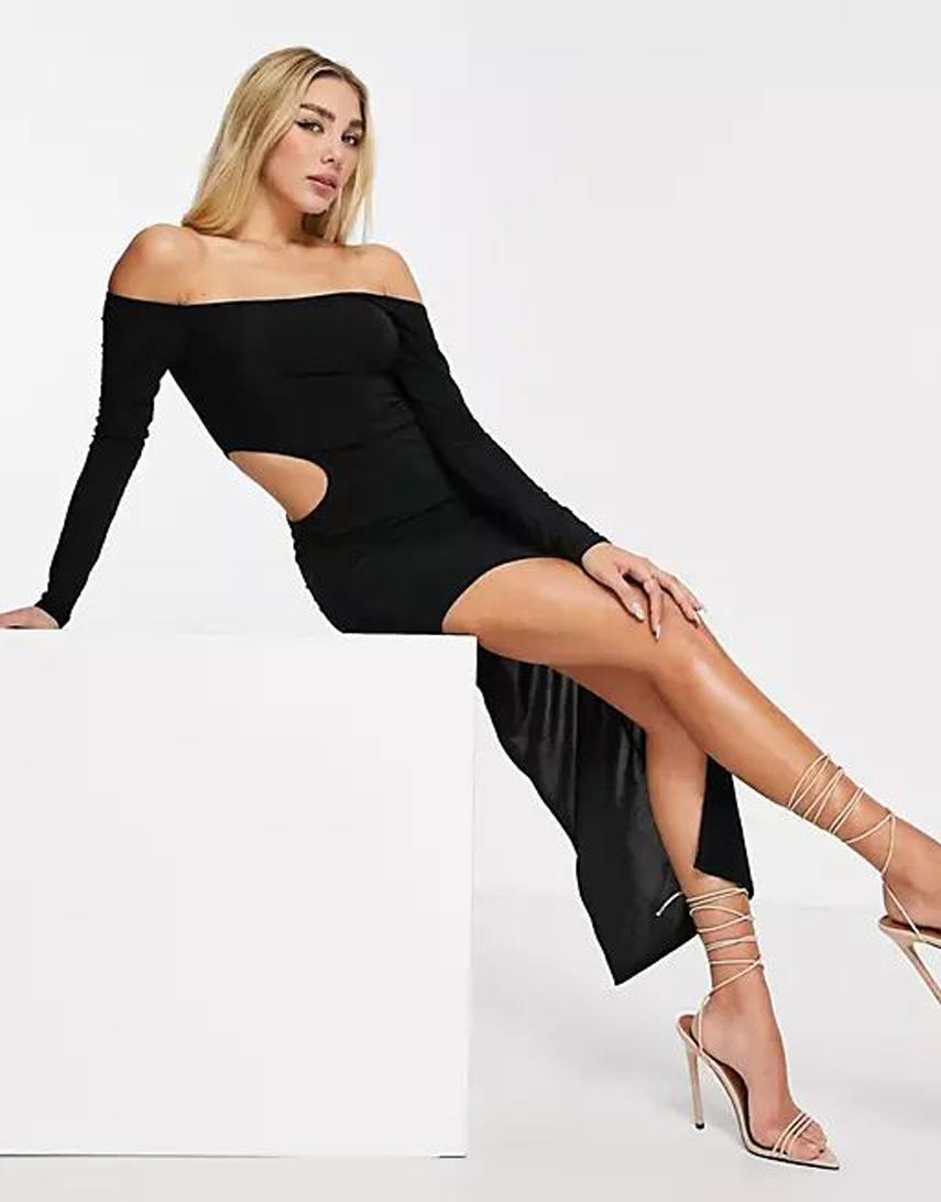 I Saw It First side cut out bardot maxi dress in black