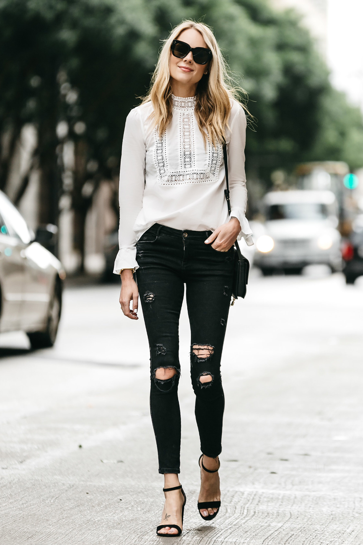 Black Skinny Jeans with White Lace Top Ankle Strap Heels