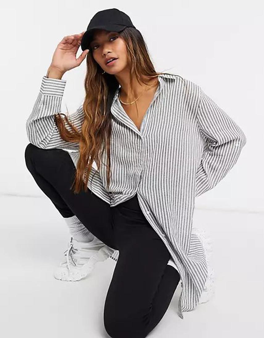 Iisla & Bird Exclusive striped shirt in black and white stripe