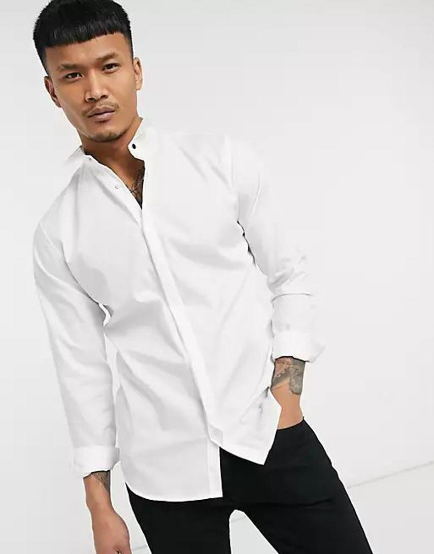 Jack & Jones Premium tuxedo shirt in white