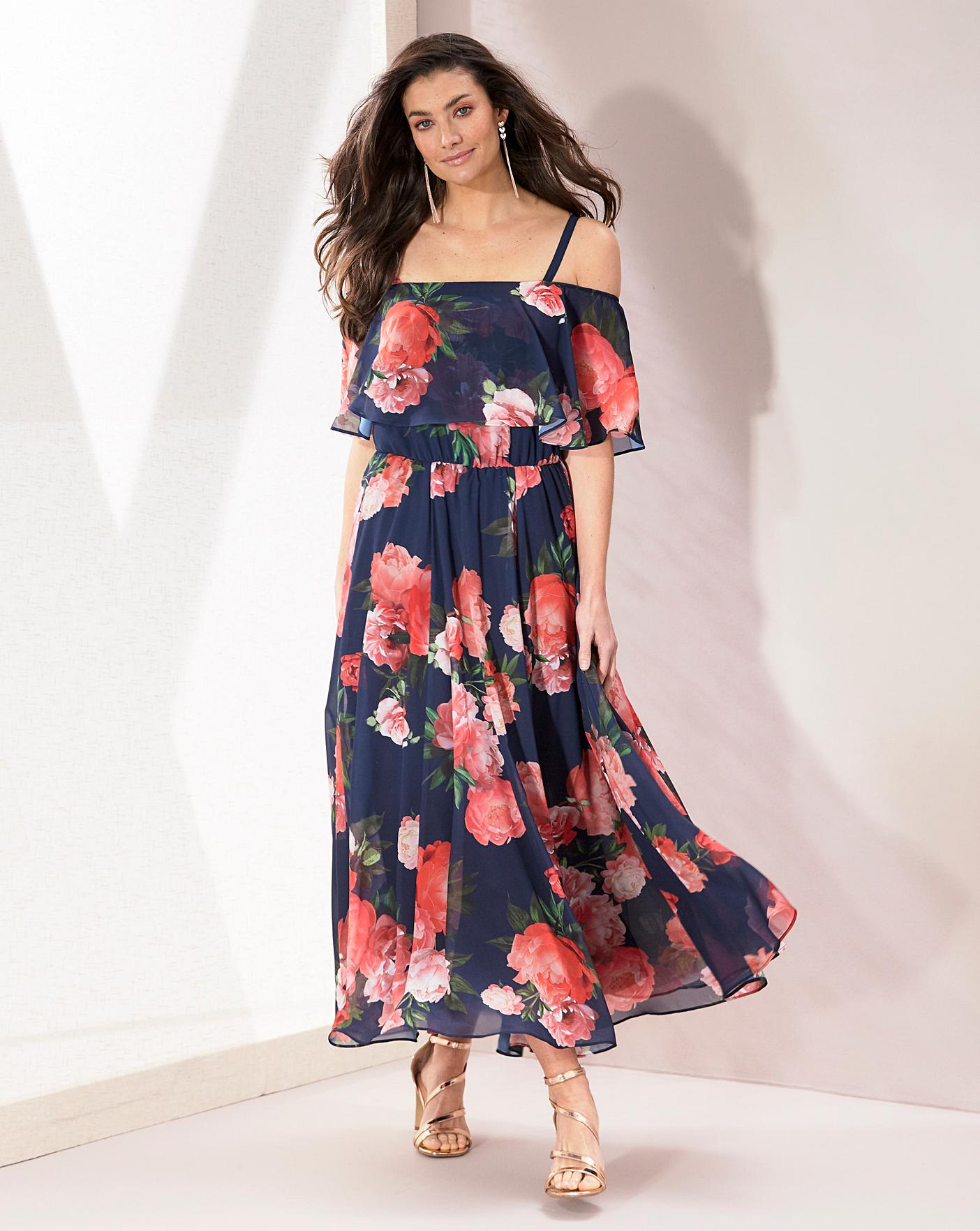 Joanna Hope Bardot Chiffon Floral Frill Maxi Dress