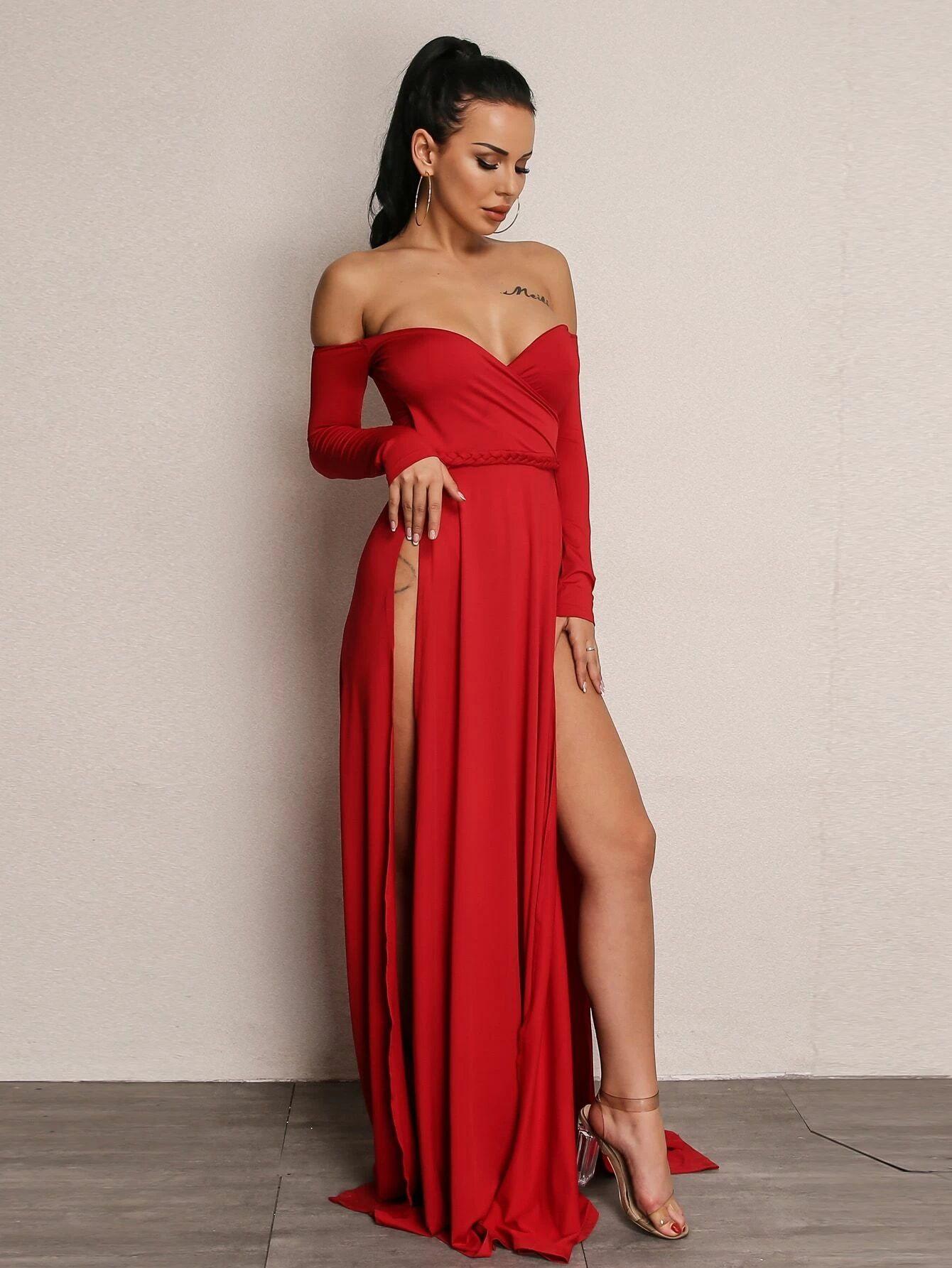 Joyfunear High Split Bardot Surplice Dress