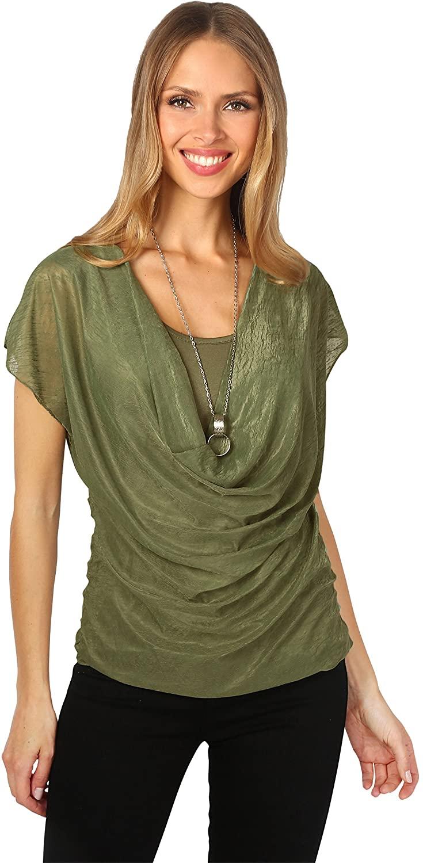 KRISP® Women Layered Cowl Neck Top