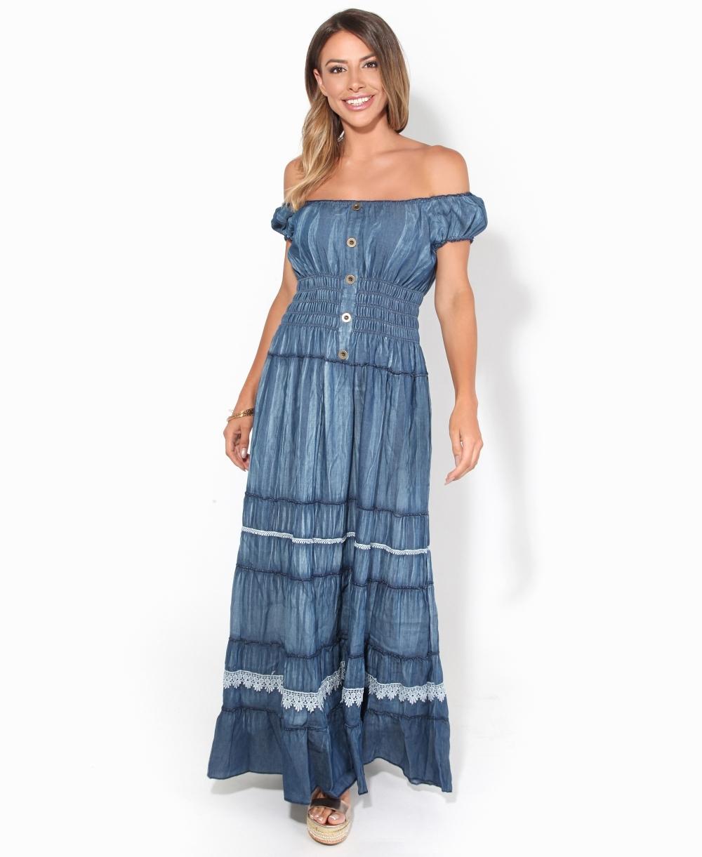 Lace Detailed Denim Maxi Dress