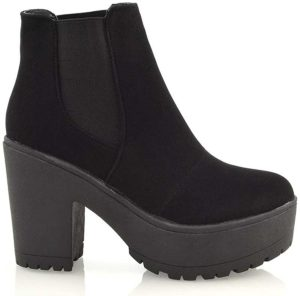 Ladies Chunky Cleated Sole Platform Womens Block Heel Biker Chelsea Ankle Boots