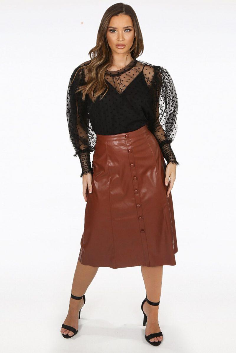 Lara Faux Leather Midi Skirt in Camel