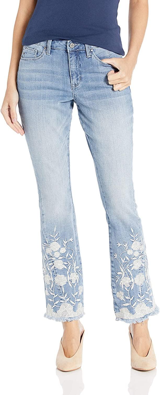 Laurie Felt Women's Classic Denim Embroidered Hem Boot Cut Jeans
