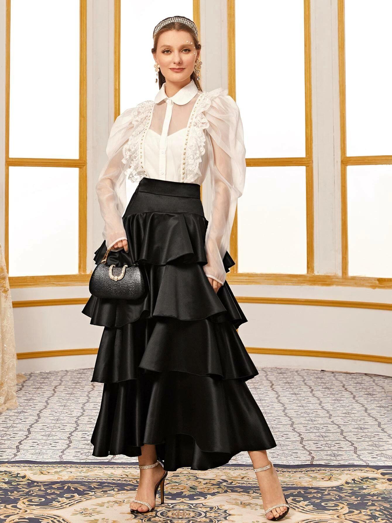 Layered Ruffle Satin Maxi Skirt