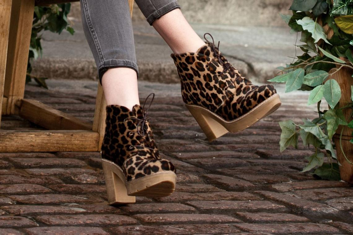 Leopard Suede Leather ankle boots (Aella)