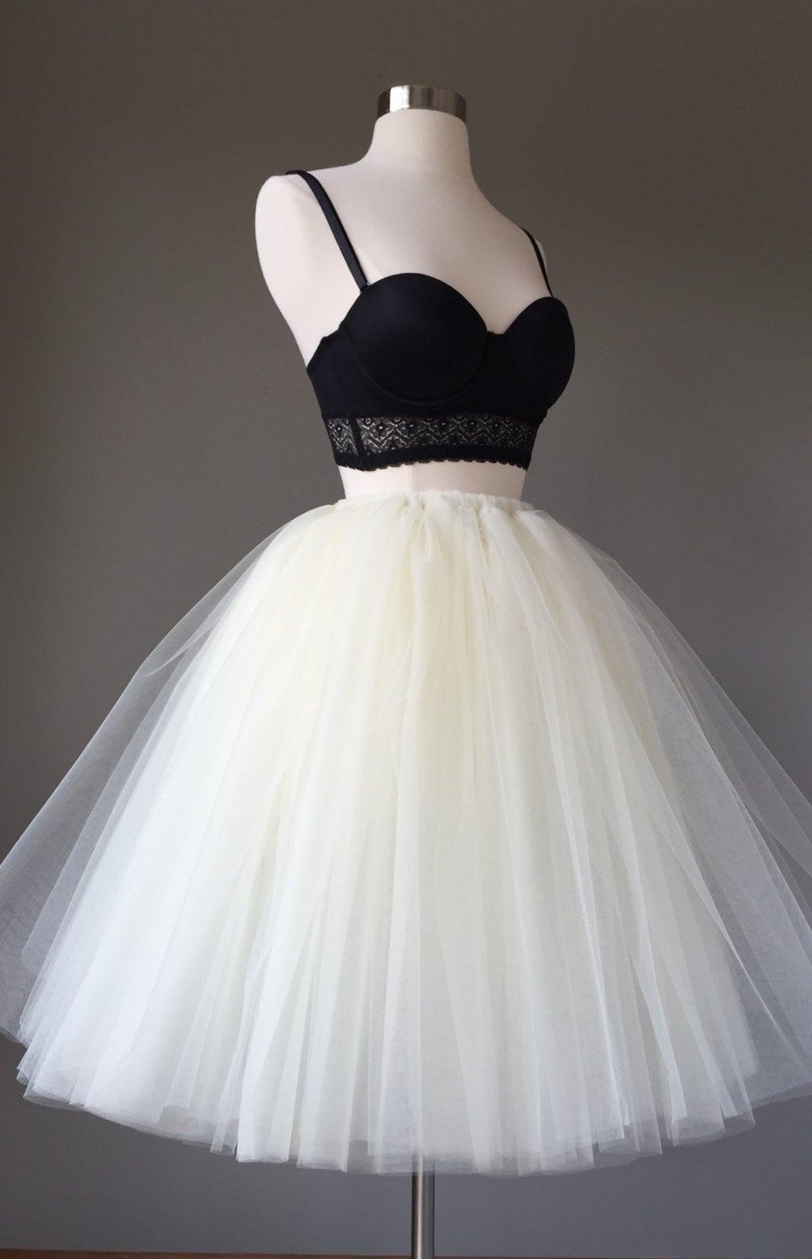 Light ivory Tulle skirt- adult tutu, 8 layer tulle skirt, bridal shower tutu